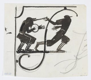 Design for signpost. Within bracket, two figures of baseball players, the catcher at left with round mitt, and the batter having just hit the ball, preparing to drop the bat and run.