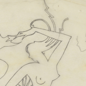 Two figures depicted in outline. At left, a man with some traits of a satyr (long curling beard) or devil (curled tail and pointed genitalia) chases a nude woman at right, grabbing her rear end. The woman runs from the man but turns back to face him, reaching her hand towards his face. Her hair twirls in ornamental spirals and zigzags.