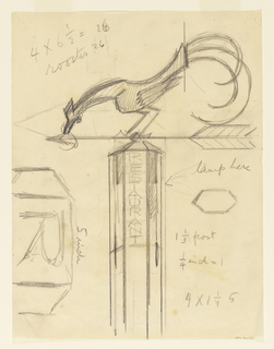 "Design for a signpost for the Central Park Zoo to be executed in iron. Upon the post, a rooster is perched upon an arrow pointing left. Inscribed on the post vertically: ""RESTAURANT."""