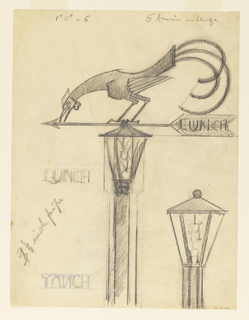 "Central post topped with a faceted light with letters spelling ""LUNCH"", topped by an arrow (weathervane) facing left. LUNCH lettered on arrow's tail feathers. Rooster perched on top of arrow with head reaching down to arrow head and tail feathers curling at right. Detail of a lantern at center right."