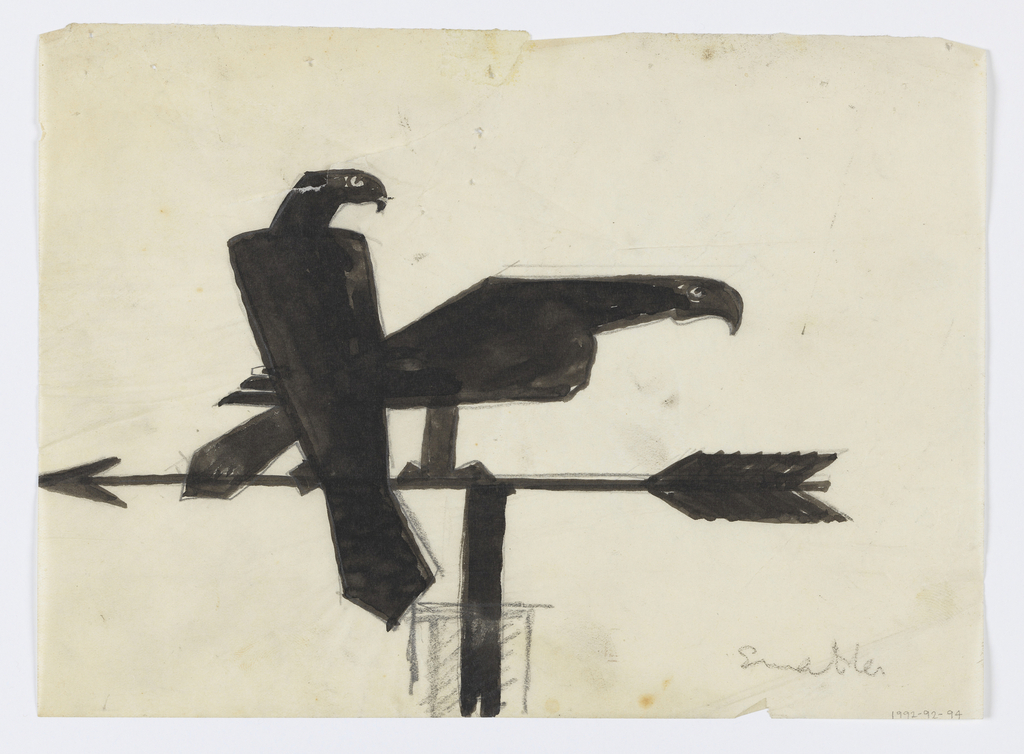 Design for weathervane to be executed in iron. Upon the arrow, two eagles are perched, the bird at left upright and the eagle at right pointing its body forward.