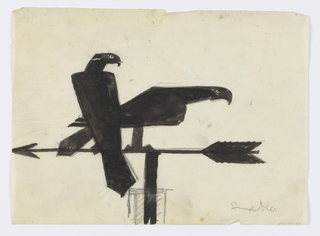 Design for weathervane to be executed in iron. Upon the arrow, two birds of prey (falcons) are perched, the bird at left upright and the falcon at right pointing its body forward.