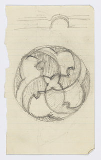 Design for a ceramic plate covered with a geometric design. At top, an additional sketch.
