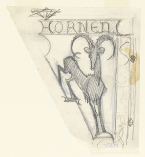 """Triangular format signpost for a zoo, intended to be executed in ironwork, with the words """"HORNED / BEASTS"""" written horizontally and vertically along the edges of the sign. Below, a figure of a mountain goat contained within a triangular form."""