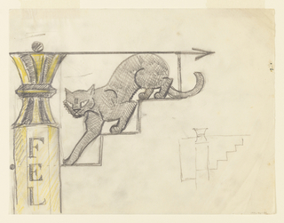 "Design for a signpost to be executed in iron. Upon a yellow and black striped post with the letters ""FEL"" visible (for felines), a figure of a slinking cat descending a stair, an arrow pointing right above the animal. At lower right, an outline sketch of the signpost."