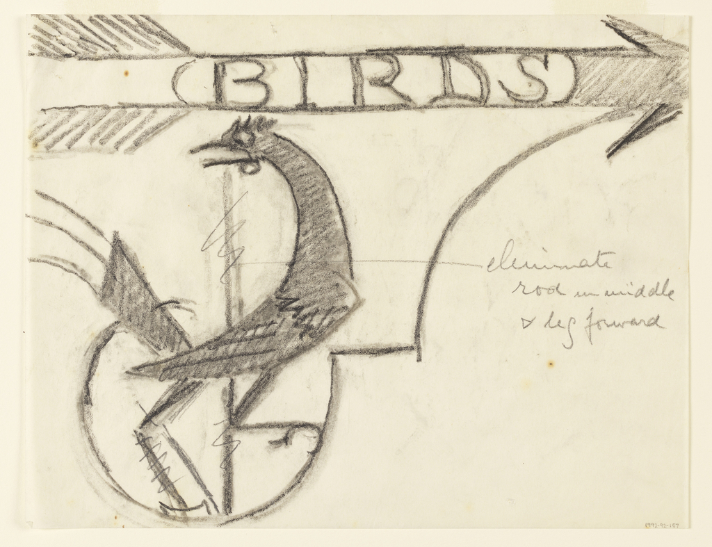 """Design for a signpost for the Central Park Zoo to be executed in iron. Upon the bracket, a perched bird. Above, an arrow pointing right, the word """"BIRDS"""" inscribed within it."""