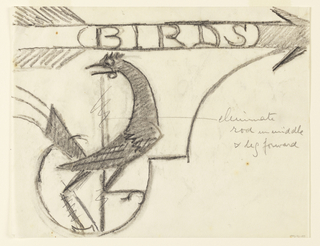 "Design for a signpost for the Central Park Zoo to be executed in iron. Upon the bracket, a perched bird. Above, an arrow pointing right, the word ""BIRDS"" inscribed within it."