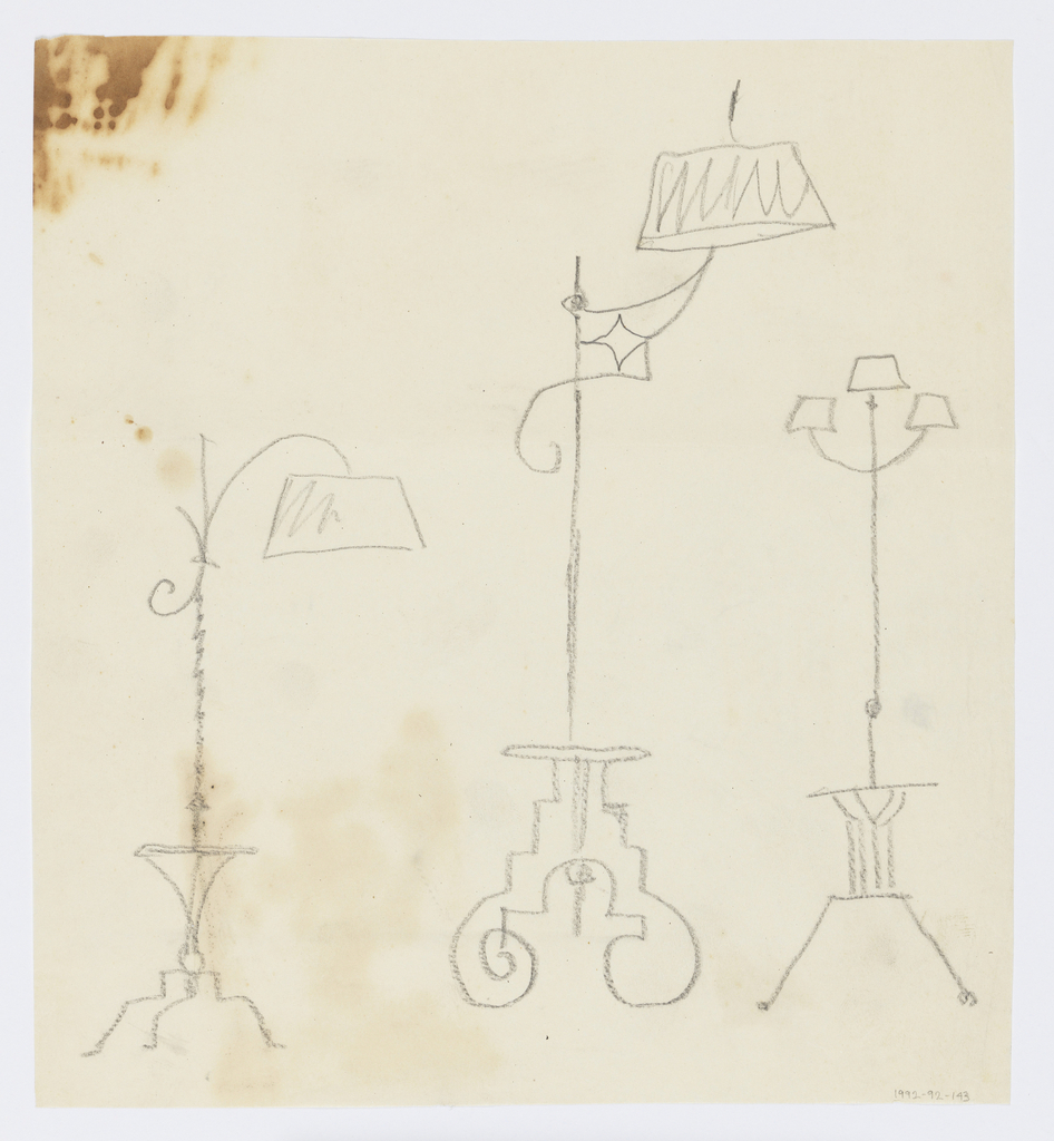 Designs for three floor lamps to be executed in iron, each with an ornamental base. At left, the shade is mounted to a bracket curving downwards; at center, the shade is mounted to the crest of a bracket; at right, three smaller shades are arranged symmetrically.
