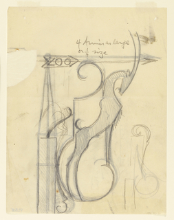 Design for a zoo signpost with directional arrow pointing right, to be executed in ironwork, decorated with an ibex.