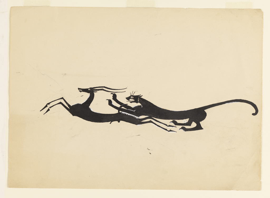 Drawn silhouette of a leopard chasing a gazelle, each with an elongated stylized body, facing left.
