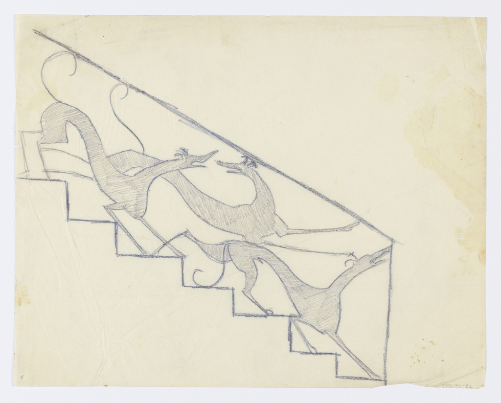 Design for an ornamental stair rail to be executed in iron. Three elongated greyhounds make up the decorative scheme descending the stairs.