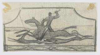 Design for a firescreen to be executed in iron, the decorative scheme composed of a male figure in hunting clothing on horseback, his arm raised and holding a weapon or viewing device. Two hounds run alongside the horse. Ornamental border below.