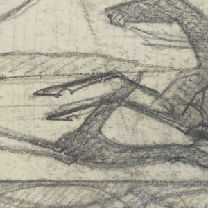 Design for a firescreen to be executed in iron, the decorative scheme composed of a male figure in hunting clothing on horseback, his arm raised and holding a horn. Two hounds run alongside the horse. Ornamental border below.
