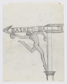 """Design for a signpost to be executed in ironwork, with directional arrow pointing left. On the body of the arrow, the text """"BASKET-BALL"""". Below, a male figure in a dramatic athletic pose holding a basketball."""