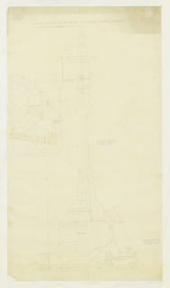 Architectural drawing depicting plan and elevation views of standard electric fan for an elaborate domestic residence. Inscriptions and notations throughout.