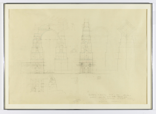 Architectural designs for a geometric arch with bell towers; studies depict plan and elevation views from various perspectives. Illegible graphite inscriptions at lower right and measurements throughout.
