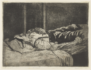Figure of a sleeping man, lying on a bed, his head, left, shown in profile. His left hand rests on his chest.