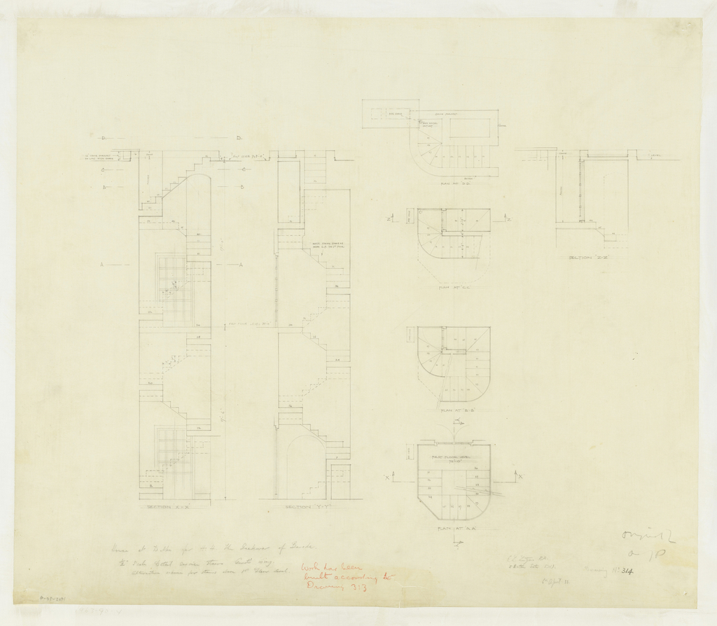 Architectural drawing depicting plan and elevation views of stairwells in an elaborate domestic residence. Graphite inscriptions and measurements throughout.