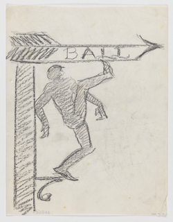 """Design for a signpost to be executed in ironwork; a directional arrow at top pointing right, the word """"BALL"""" inscribed within the body of the arrow. Below. a figure in silhouette kicking his leg up high so that the toe pushes against the edge of the sign."""