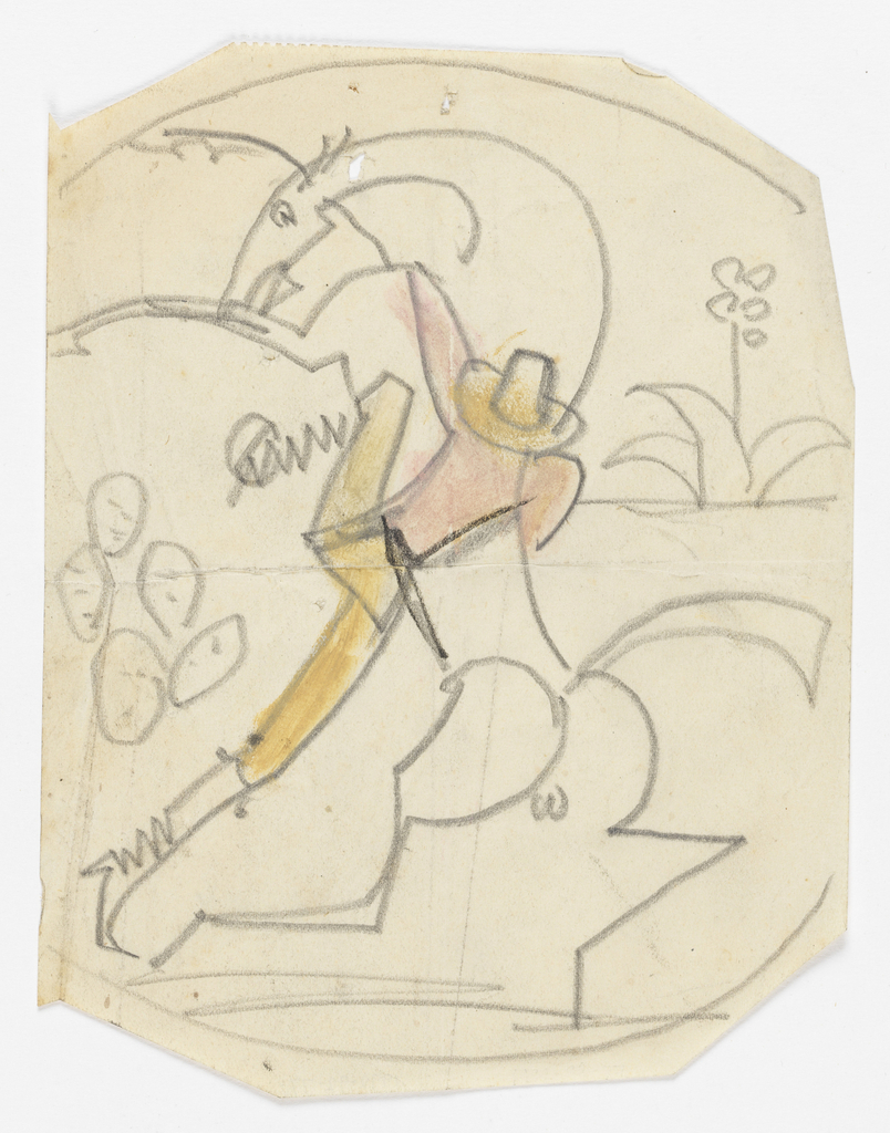 On irregular sheet, a design for a plate, depicting a figure of a cowboy mounting a bucking horse. In the background, cactus and flowers.