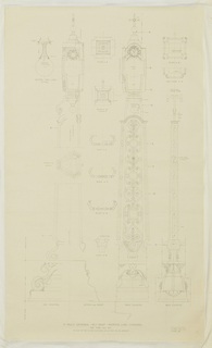Architectural print depicting the plan and elevation of designs for lamp standards for St. Paul's Cathedral, the standards decorated with scrollwork, coats of arms, and crosses. Printed inscriptions and measurements throughout.