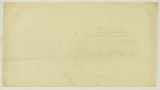 Architectural drawing depicting two elevation views of the National Theatre at South Kensington. Illegible graphite inscriptions at center right.