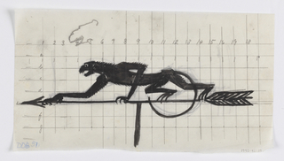 Design for a weathervane with a crouching figure of a monkey, facing left on the arrow. Numbered grid lines in graphite. At upper left, a sketch in graphite of the monkey's face in profile.