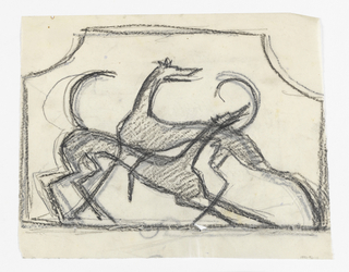 Design for a firescreen to be executed in iron. Within the frame, two figures of hounds, their bodies overlapping.
