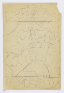 Design for ornamental grillwork to be executed in iron. At center, two fighting horses, the figure at left bucking on its hind legs, the horse at right bucking on its front legs, kicking the other animal.