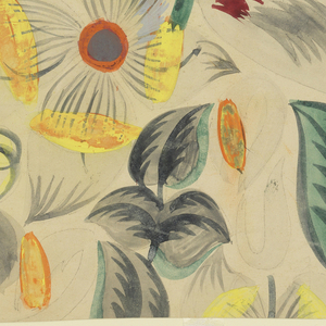 Pattern of tropical flowers in green, yellow, burgundy, orange, blue, and gray on grayish ground.