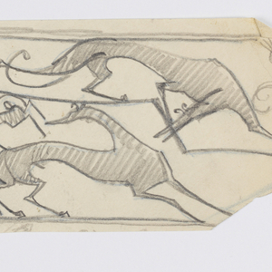 On an irregular sheet, design for stair rail grillwork to be executed in iron with four large hounds and two rabbits at center.