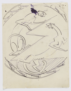 Possible design for a plate. Within a circular ornamental frame, two animal figures of panthers, their mouths open, facing each other, separated by a jagged line.