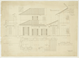 Architectural print depicting the plan and elevation of a domestic building depicting a garden-front view of a bungalow. Printed notations with measurements and inscriptions throughout