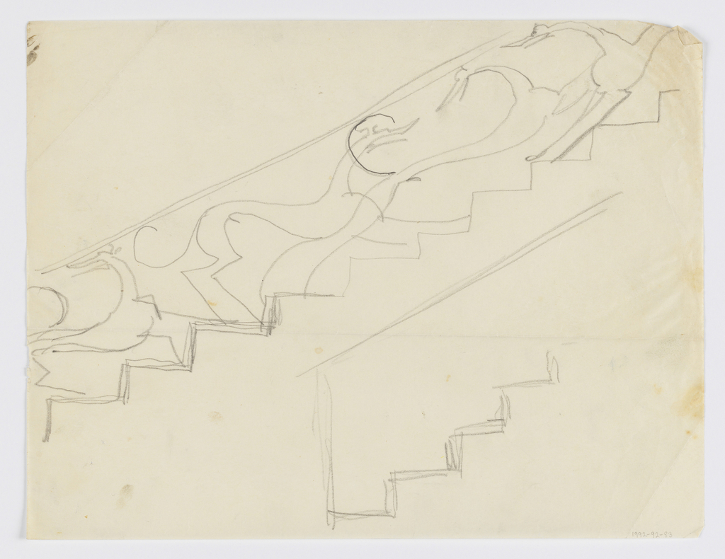 Design for ornamental stair rail to be executed in iron, the decoration consisting of elongated and overlapping hounds ascending the stairs.