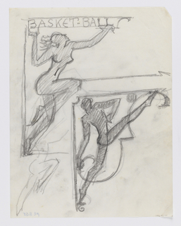 """Designs for signposts to be executed in ironwork showing alternate designs for basketball signage, each with a directional arrow pointing right. Above, a female figure with arms outstretched, the word """"BASKETBALL"""" inscribed above. Below, a male figure with legs extended, a ball near his foot."""