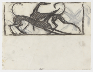 A design intended to be executed in ironwork, possibly for a firescreen or balustrade, featuring hounds at play.