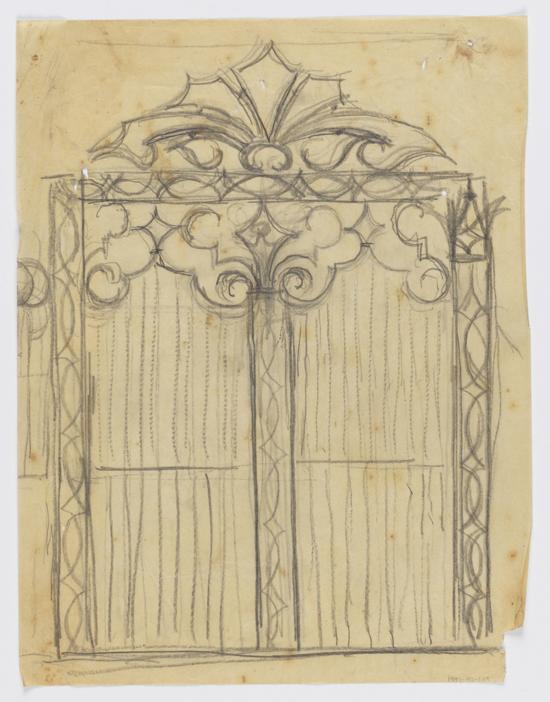 Design for an ornamental gate to be executed in iron with various grillwork designs.