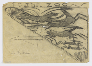 """Design for a zoo signpost to be executed in ironwork; the words """"TO THE ZOO"""" at the top. In the triangle below, a group of animals including a leopard chasing a gazelle; additional gazelles in the distance with stylized grassland motifs. At lower right, a sketch of the directional arrow to accompany the sign, pointing left."""