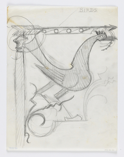 Design for signpost to be executed in ironwork with a large bird between the mount and the arrow.