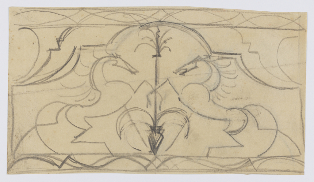Symmetrical design for grillwork with two rearing horses facing each other at center.