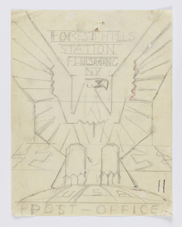 Design for emblem for Forest Hills Post Office in Queens, New York. A large bald eagle with open wings perches upon a semicircle. Inscribed in graphite, upper center: FOREST HILLS / STATION / FLUSHING / NY; lower center: USA / POST - OFFICE