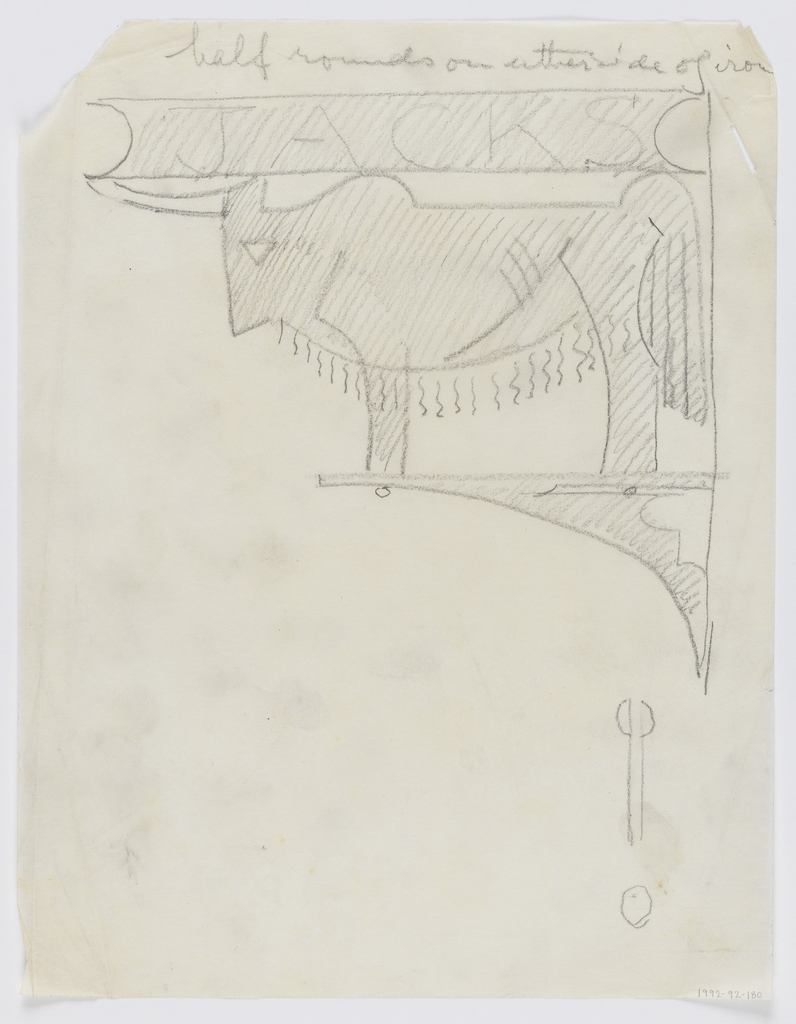 "Design for a signpost to be executed in iron. Within a bracket, a buffalo or bison-like animal with horns, facing left. Above the figure, the word ""JACKS"". Additional abstract sketch below."