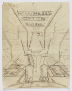 Design for emblem for Forest Hills Post Office in Queens, New York. A large bald eagle with open wings perches upon a semicircle. Inscribed in graphite, upper center: FOREST HILLS / STATION / FLUSHING / NY; lower center: USA; additional inscriptions at left and right sides.