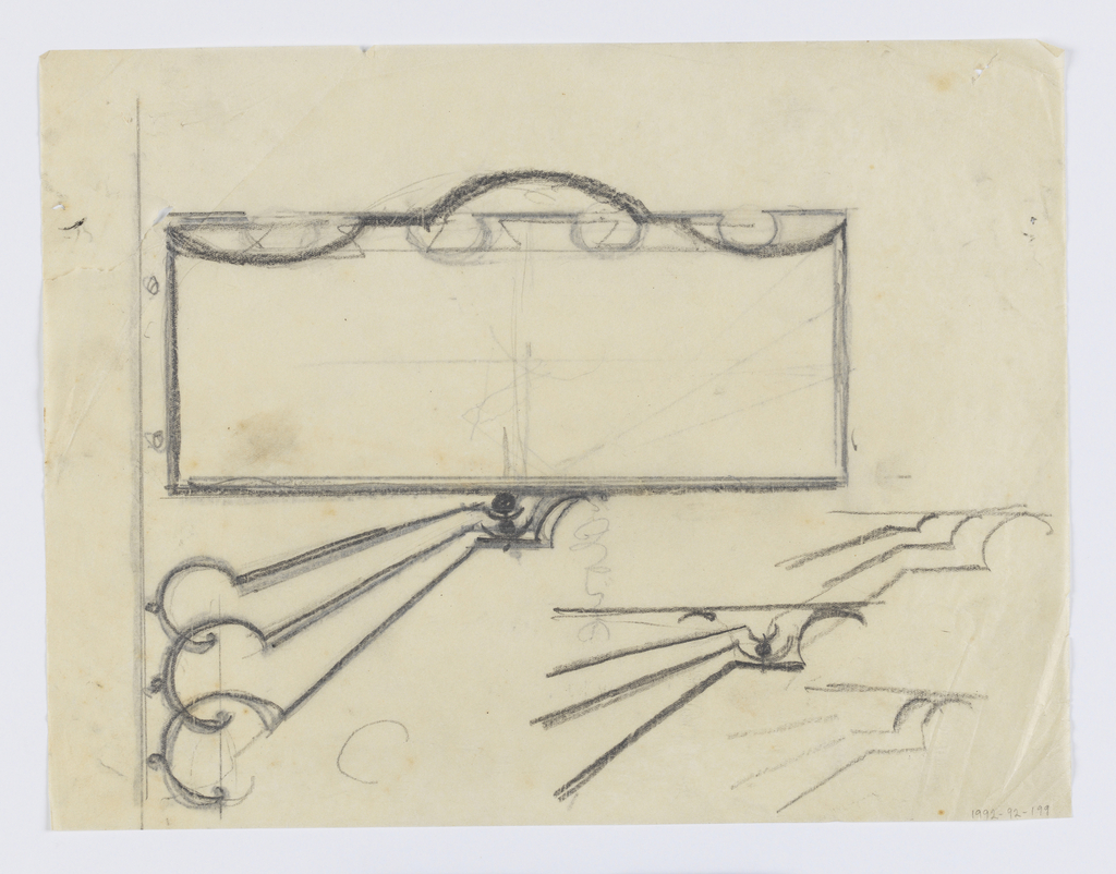 Design for signpost to be executed in iron; a blank panel connected to a wall or post via an elaborate curved bracket. Additional sketches for brackets at lower right.