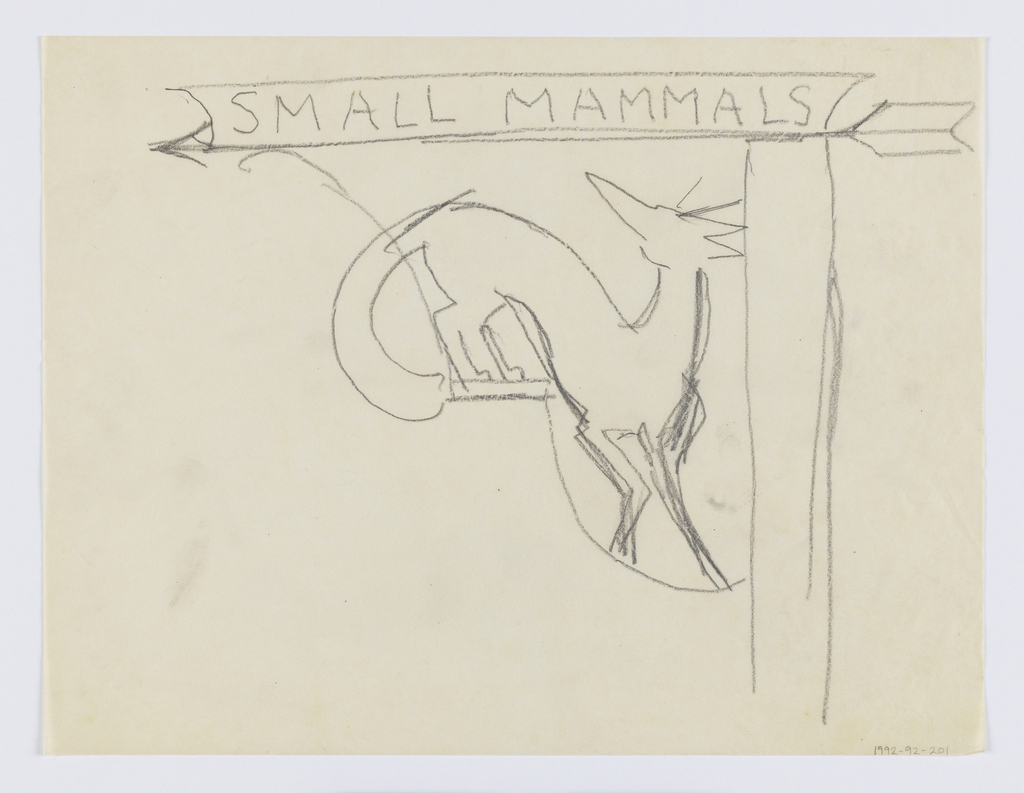 """Design for signpost for to be executed in iron. A bracket with arrow pointing left, with the words """"SMALL MAMMALS."""" Below, a figure of a fox."""