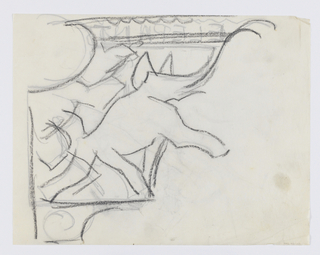 Design for a signpost to be executed in iron. Bracket design with parading elephant within, its right leg and trunk raised.