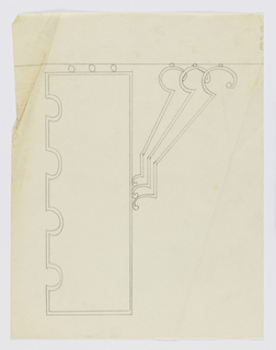 "Design for a signpost to be executed in iron, an arrow pointing left, an ornamental bracket, and the word ""LADIES"" written vertically on the post."