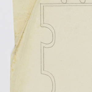 """Design for a signpost to be executed in iron, an arrow pointing left, an ornamental bracket, and the word """"LADIES"""" written vertically on the post."""