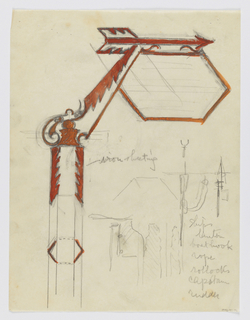 Design for signpost to be executed in iron. Upon a post, an angled bracket connects to a hexagonal signpost with an arrow pointing right. Below, additional sketches.