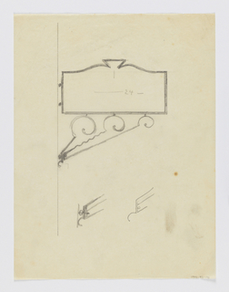 Design for signpost to be executed in iron, a decorative panel connected to a wall or post by an elaborate curving bracket. Additional sketches of bracket and mount ideas below.